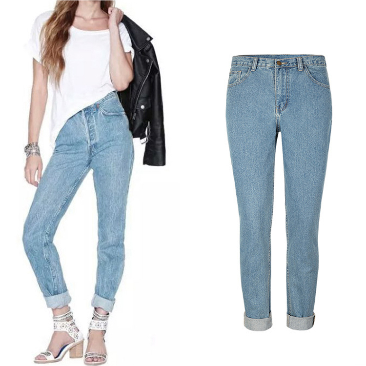 Light blue high waisted jeans plus size