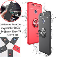 360 Rotating Finger Ring Magnetic Car Holder Back Cover Case for Huawei Honor V9 TPU Case Phone Cover for Honor 8 Pro Capa Coque(China)