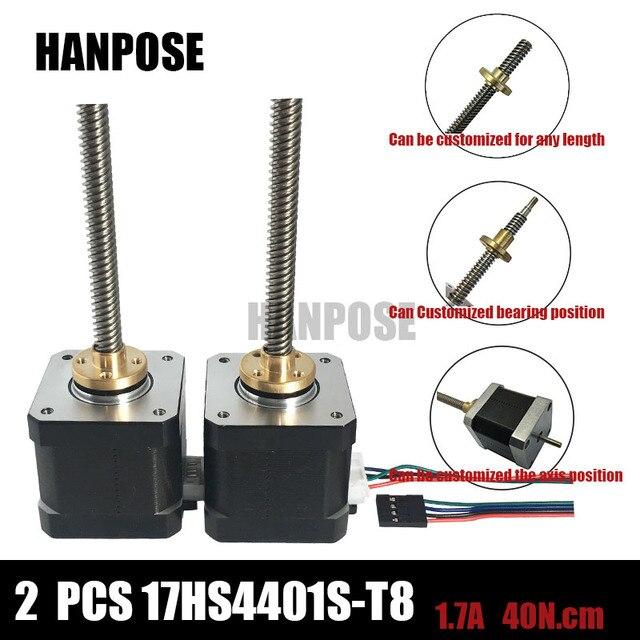 Free shipping 2pcs 3D printer Nema17 17HS4401 T8*8 L300MM Screw Rod Linear Stepping Motor  Z-Motor with Trapezoidal Lead Srew