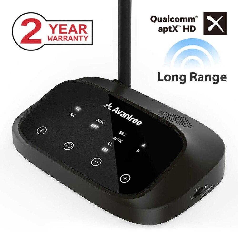 Avantree aptX HD LONG RANGE Bluetooth Sender für TV Audio, Wireless Sender und Empfänger, Bypass und Bluetooth Arbeit