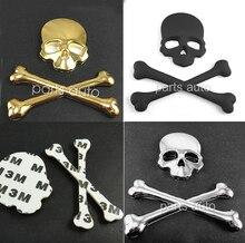 Siyah veya Altın Gümüş Krom Crossbones Kafatası Şeytan Metal Kemik Logo Rozeti With3M çıkartma çoğu araba için