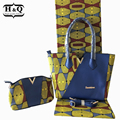 Hot sale two wax bag match 6 yards real wax hollandais fabric high quality 3 pieces/set african woman's wax handbag for party