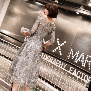 Image 3 - Sequined Cocktail Dresses Shining Three Quater Sleeve Tassel O neck Party Dress Sexy Lace Plus Size Tea Length Formal Gowns E366