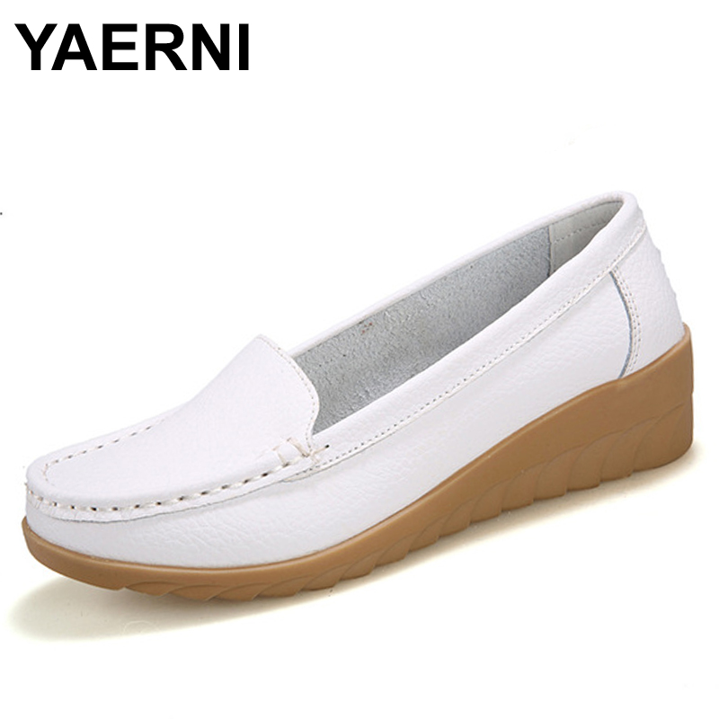 YAERNI   Genuine Leather shoes Women Flats Shoe Fashion Casual Slip On Soft Loafers Spring Autumn Female Driving Shoes Wholesale siketu sweet bowknot flat shoes soft bottom casual shallow mouth purple pink suede flats slip on loafers for women size 35 40
