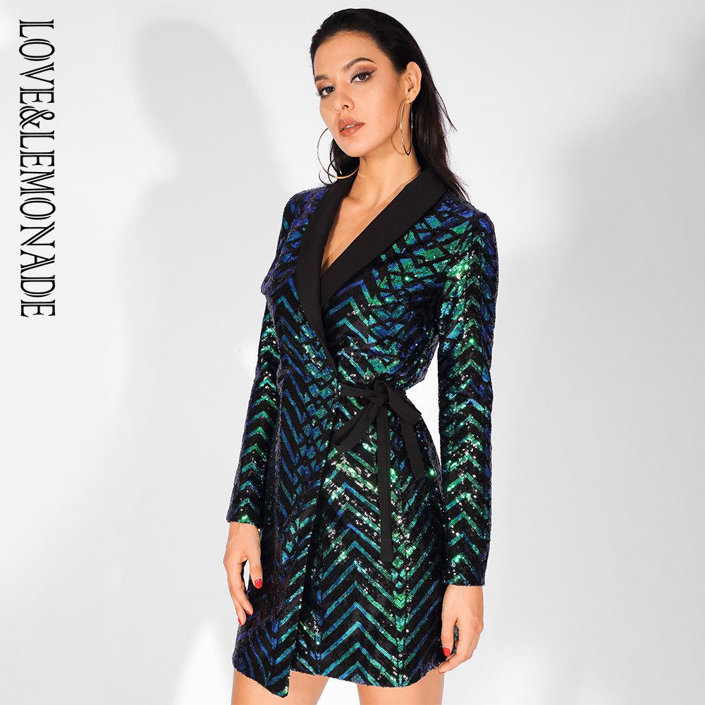 Love Lemonade V Neck Green Geometry Sequins Cross Banded Party Dress LM81029 1