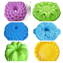 Silicone Big Cake Molds Flower Crown Shape Cake Bakeware Baking Tools 3D Bread Pastry Mould Pizza Pan DIY Birthday Wedding Party(China)
