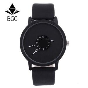Image 2 - แฟชั่นสร้างสรรค์นาฬิกาผู้หญิงผู้ชายนาฬิกาควอตซ์BGGแบรนด์การออกแบบที่ไม่ซ้ำกันDial Minimalist Lovers นาฬิกานาฬิกาข้อมือหนัง