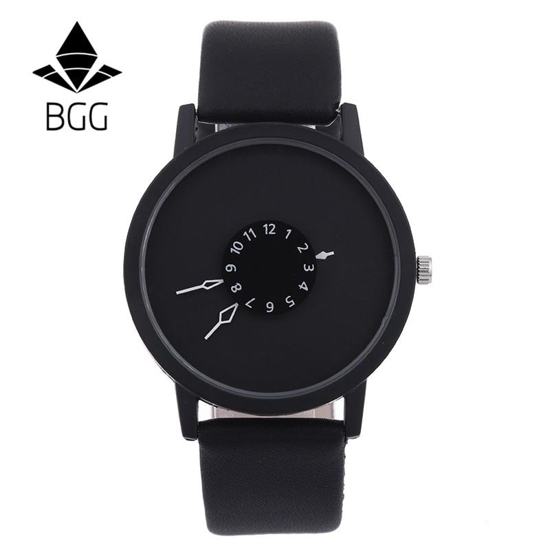 Hot fashion creative watches women men quartz-watch BGG brand unique dial design minimalist lovers' watch leather wristwatches