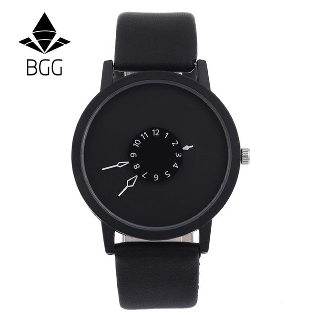 Relojes creativos de moda para mujer, relojes de cuarzo para hombres, relojes de pulsera de cuero con marca única de BGG