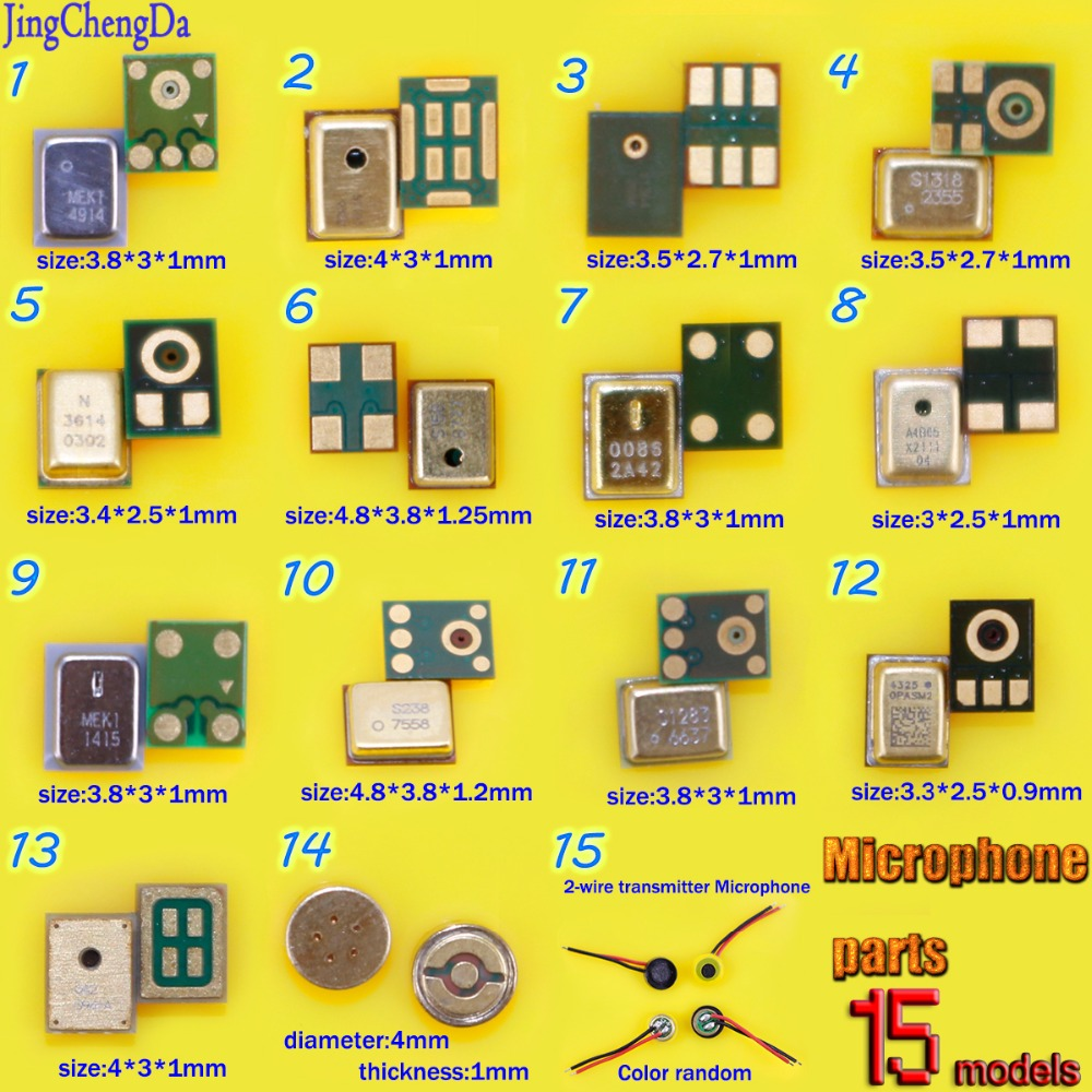 15models Speaker Microphones Inner MIC Repair Parts For iPhone for Xiaomi Electret Condenser MIC 4*2mm for PC Phone MP3 MP4