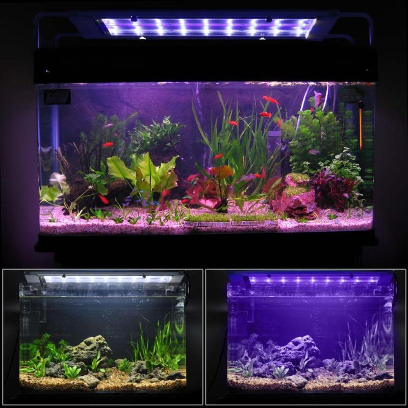 18 LED Fish Tank Light Aquarium Light AC 110-240V Waterproof Ultrathin Retractable Clip Lamp Fish Tank Clip Light US/EU Plug multi colored 9 mode 17 led aquarium submersible light lamp ac 220 240v eu plug