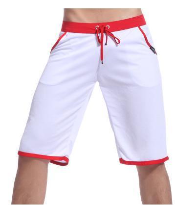 WJ Летние повседневные спортивные шорты, мужские брюки, эластичные Брендовые мужские капри, модные облегающие спортивные шорты длиной до колен, быстросохнущие шорты для тренировок - Цвет: Белый