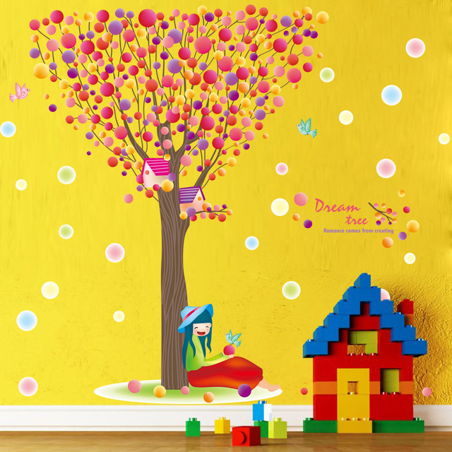 Dream Tree Vinyl Wall Stickers For Kids Rooms Wall Decor Nursery ...