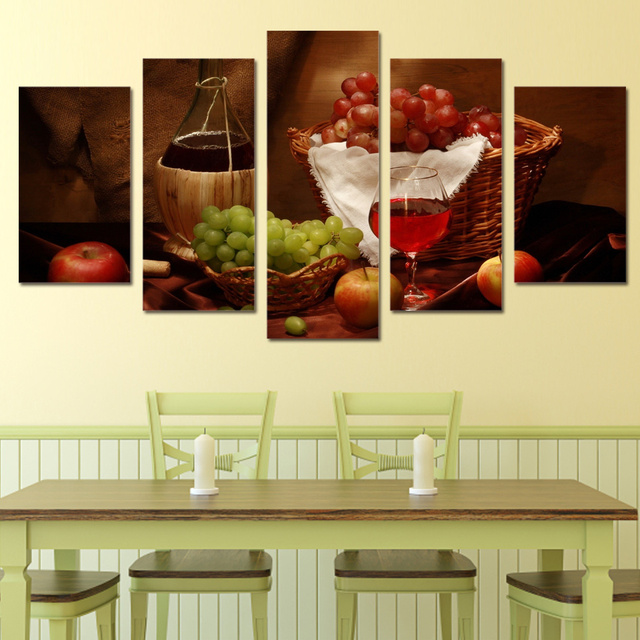 5 piece canvas art wine drink fruit classical HD Printed wall ...