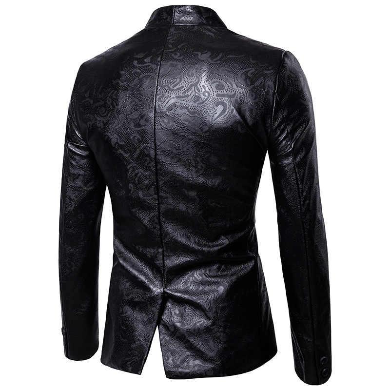 Heren Zwart Pak Jassen Gothic Dark Reliëf Lederen Ontwerp Mode Jas Jas Effen Kleur Mannen Pak Malr Tps