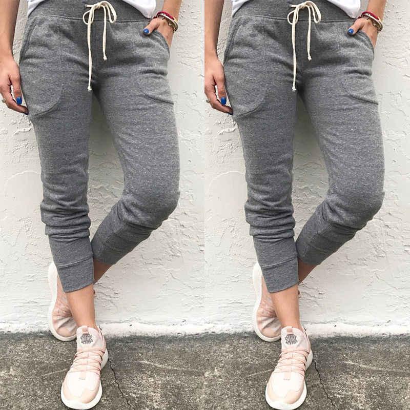 8e95193deaae4 New Women Casual Hip Hop Harem Pants Capris Trousers Sweatpants Casual  Womens Nine Length Pants Elastic