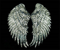 4pair Lot 19x35cm Wings Sequin Applique Beaded Patches For Clothing Appliques Parches Bordados Patch Sewing Accessories
