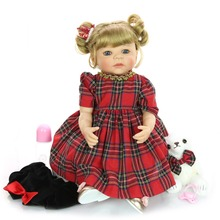 56 cm Lovely bebes Reborn Boneca Silicone girl Realistic Baby Doll With blonde hair alive Princess toy For kids gift Playmate недорого