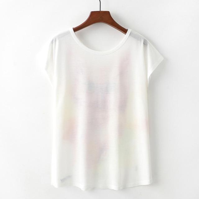 KaiTingu Summer Novelty Women T Shirt Harajuku Kawaii Cute Style Nice Cat Print T-shirt New Short Sleeve Tops Size M L XL 1