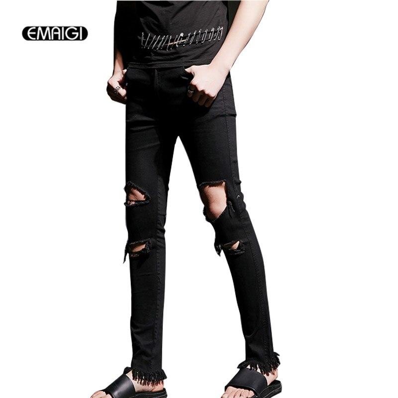 Street Fashion Hiphop Male Slim Fit Jeans Men Knee Hole Denim Trouser Beggars Punk Gothic Jeans Costumes K517