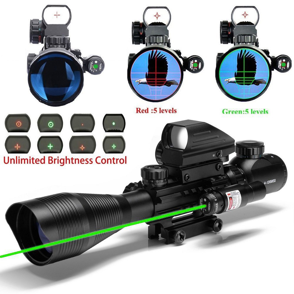 Spike tactical hunting Riflescope 4-12x50 optic sight with green dot laser sight and holographic red&green dot Sight for sniper tactical m4 1x33 red dot collimating sight with red and green illumination for hunting shooting hunting