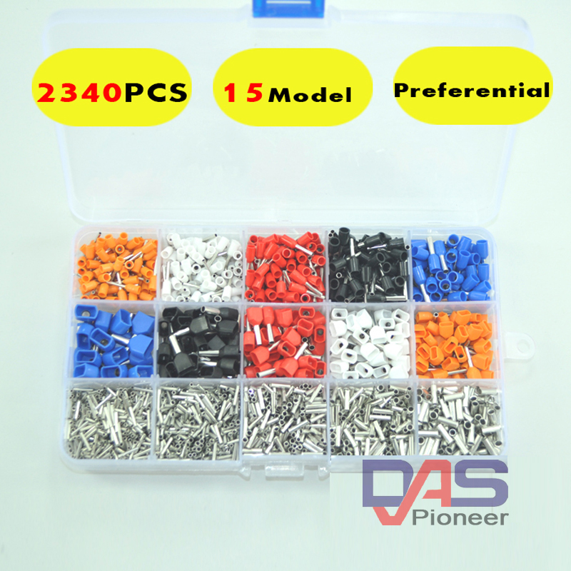 2340pcs/lot  mixed 15 models  Dual Bootlace Ferrule Kit Electrical Crimp Crimper cord wire end terminal block pz0 5 16 0 5 16mm2 crimping tool bootlace ferrule crimper and 1k 12 awg en4012 bare bootlace wire ferrules