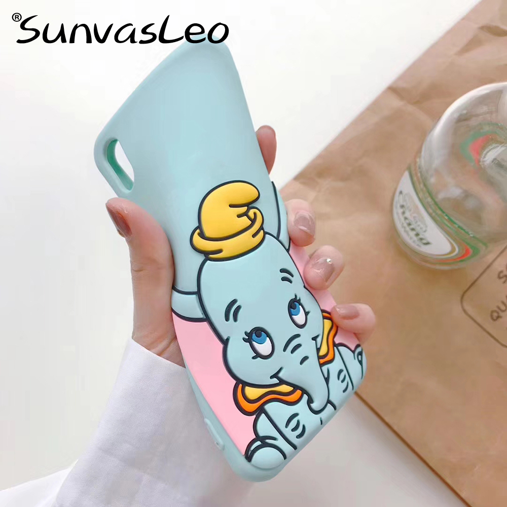 For iPhone 6 6s 7 8 Plus X XS XR XS Max New 3D Cartoon Elephant Soft Silicone Case Mobile Phone Back Cover Shell Fundas Coque in Fitted Cases from Cellphones Telecommunications