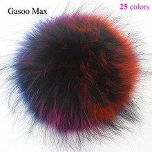 14-15 cm de piel de mapache pompones elegante de bolas de punto de lana 64fe42eaa94