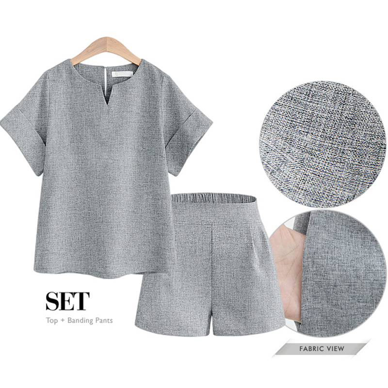 2018 Women Summer Casual Cotton Linen V-neck short sleeve tops + shorts two piece set Female Office Suit Set Women's Costumes 1