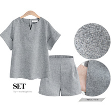 Women Summer Casual Cotton Linen V-neck short sleeve tops + shorts two piece sey