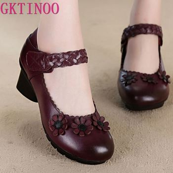 2020 Spring High Heels Women Genuine Leather Work Shoes Woman Thick Heels Pumps Casual Women Shoes 2018 women shoes black work super high heels shoes woman sweet bow single shoes big size 32 43 46 47 leather shoes red bottom