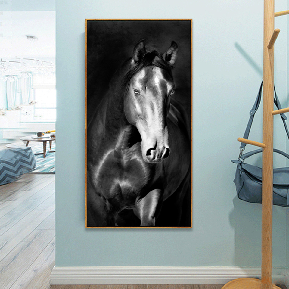 US $10.10 10% OFFCanvas Painting Dark Horse Wall Decor Print Wall Picture  For Living Room Wall Art Decoration Animal Posters And PrintsPainting &