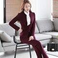 De dos Piezas de Damas Diseños De Uniformes de Oficina Mujer Trajes de Negocios Formal Traje Pantalón Rojo Chaqueta De trabajo Desgaste Del Otoño