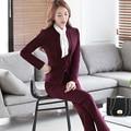 Senhoras duas Peças Terno Calça Formal Uniforme Escritório Projeta Mulheres de Negócio Ternos Blazer Vermelho Para trabalhar o Desgaste Do Outono