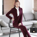 Two Piece Ladies Formal Pant Suit Office Uniform Designs Women Business Suits Red Blazer For work Autumn Wear
