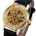 Top Marca de Luxo VENCEDOR Mulheres Relógios Genuínos Senhoras Pulseira De Couro de Esqueleto Mecânico Automático de Pulso Relógios Mãos Luminosas