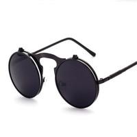 New 2018 Steam Punk Sunglasses Round Plain Mirror Metal Frames Sun Glasses Men Women S Glasses
