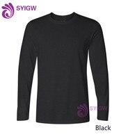 Long Sleeve custom logo T Shirt 100% cotton t shirts Man o neck tee for gift