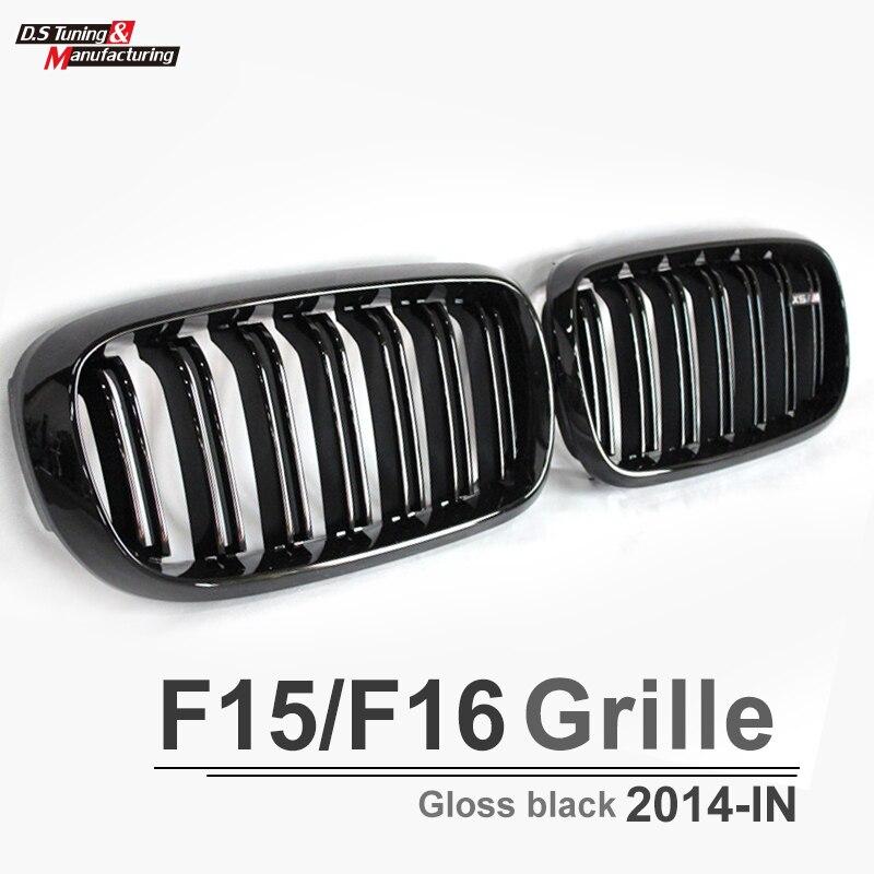 X5 X6 F15 F16 Double Sel Noir Grill sans X5 X6 emblème calandre pour BWM X5 x6 2015 2016 xDrive35i xDrive50i
