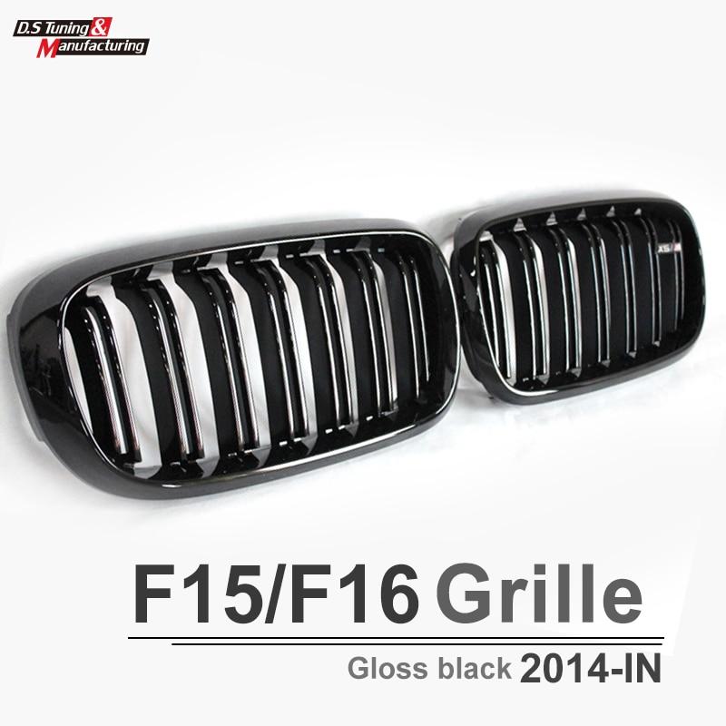 X5 X6 F15 F16 Dual Salt Black Grill without X5 X6 Emblem front Grille for BWM X5 x6 2015 2016 xDrive35i xDrive50i x5 x6 m performance sport design m color front grill dual slat kidney custom auto grille fit for bmw 2015 2016 f15 f16 suv