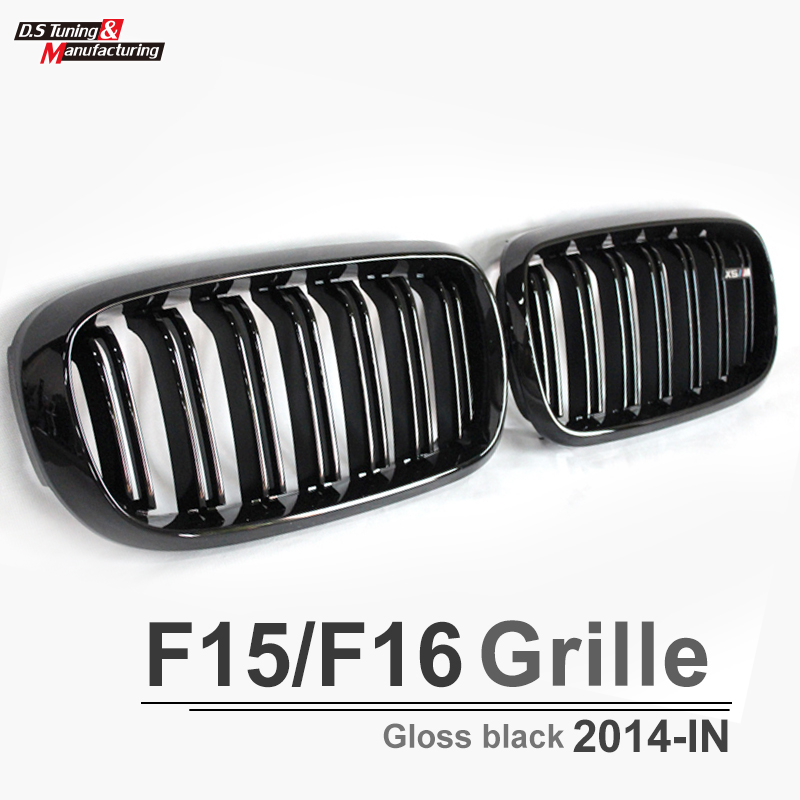 X5 X6 F15 F16 dual salt black grill with X5 X6 emblem front grille for bmw X5 x6 2015 2016 xDrive35i  xDrive50i x5 x6 m performance sport design m color front grill dual slat kidney custom auto grille fit for bmw 2015 2016 f15 f16 suv