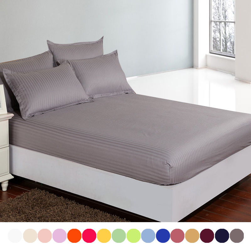 cotton satin hotel bed sheet19 solid fitted sheet deep 30double single bed