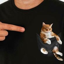 Футболка с котом в кармане для любителей кошек черная Хлопковая мужская S-6XL поставщик США Мужская и женская модная футболка унисекс