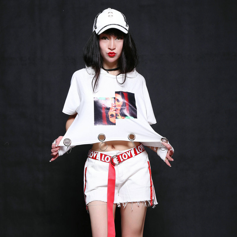 Hip Hop Dance Costume Adult Street Dancing Clothes Nightclub Dj Ds Jazz CheerleaderCostumes Stage Outfit Women Rave Wear DT1060