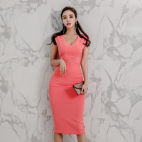 Sleeveless Midi Wrap Dress Women Sheath Bodycon Bandage Dress Women Plus Size Summer Dress 2019 OL Office Work Red Dress Women