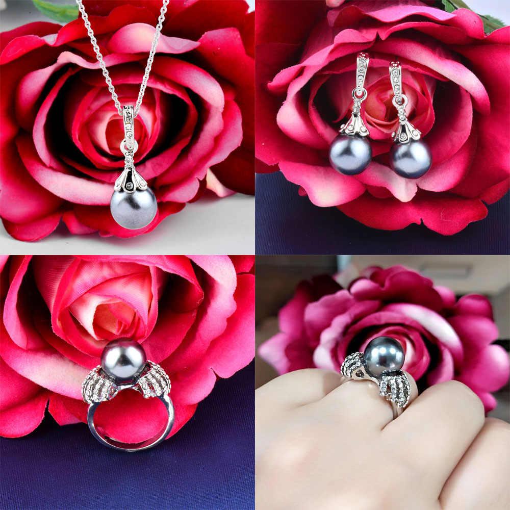 SINLEERY Elegante Imitation Perle Hochzeit Braut Schmuck Set für Frauen Silber Farbe Halskette Ohrringe Ring Set TZ252 SSA