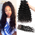 7A Good Water Wave With Closure Brazilian Water Wave Virgin Hair 3 Bundles With Closure Brazilian Virgin Hair With Lace Closure