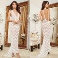 Branco Sexy V Halter Longo Vestido de Noite Transparente Sheer Malha Vestido Longo Erótico Lingerie Mulheres Sexy Roupa de Dormir de Noite Sleepwearrent