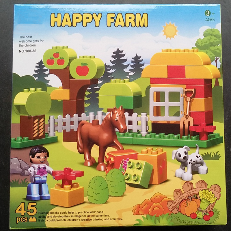 188-35 Happy Farm Animals Building Blocks Toys for Children gift Compatible LegoINGly Duploe Sets Animal Horse Farm 6pcs simulated farm animal horse sheep