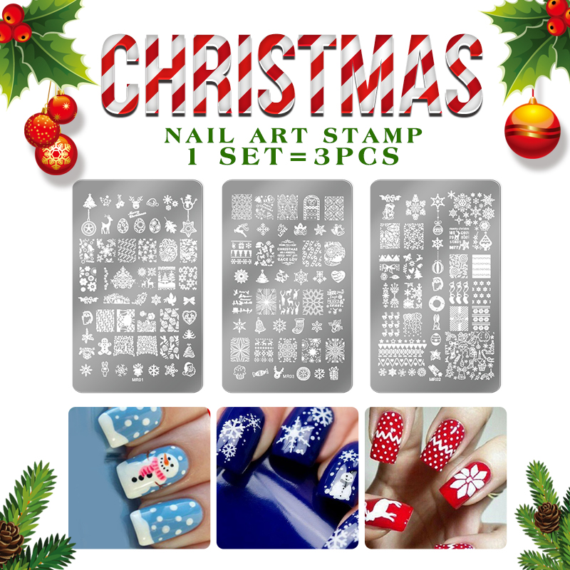 Christmas gift Nail Template Series Nail Plates Stainless Steel Image decoration Nail Art Stamping Template DIY Nail Tools kit